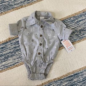 Just One You by Carters Button Down Shirt Bodysuit